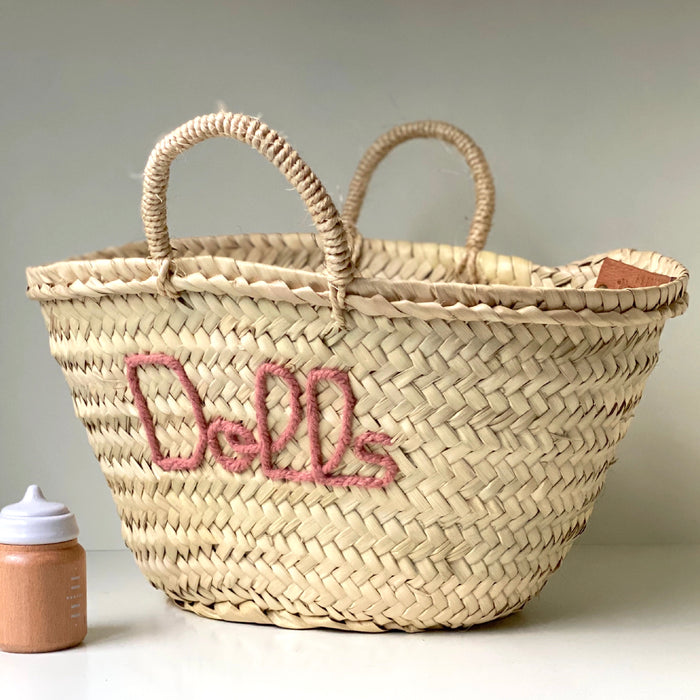 'Dolls' Basket (Small) - Blush Embroidery