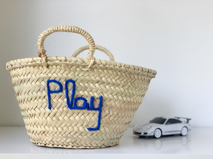 'Play' Basket (Small) - Royal Blue Embroidery - Pretty Snippets Kids Toys & Accessories