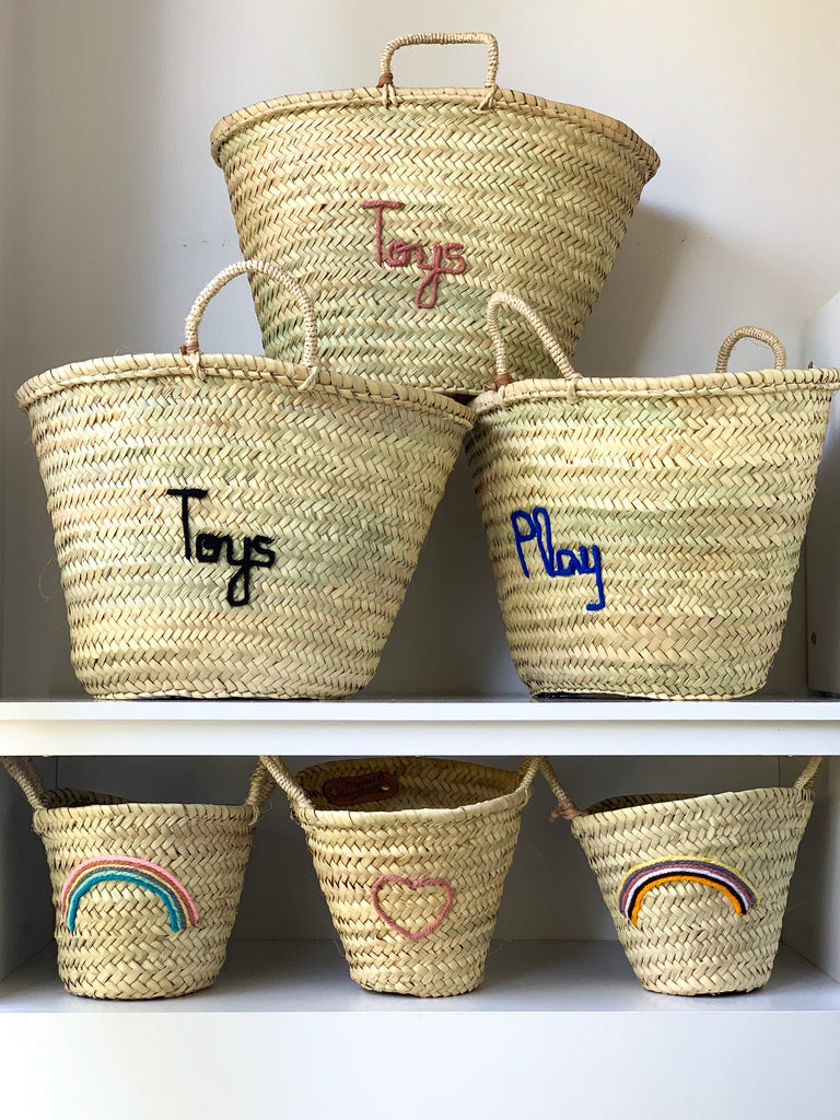 'Toys' Basket (Medium) - Blush Embroidery - Pretty Snippets Kids Toys & Accessories