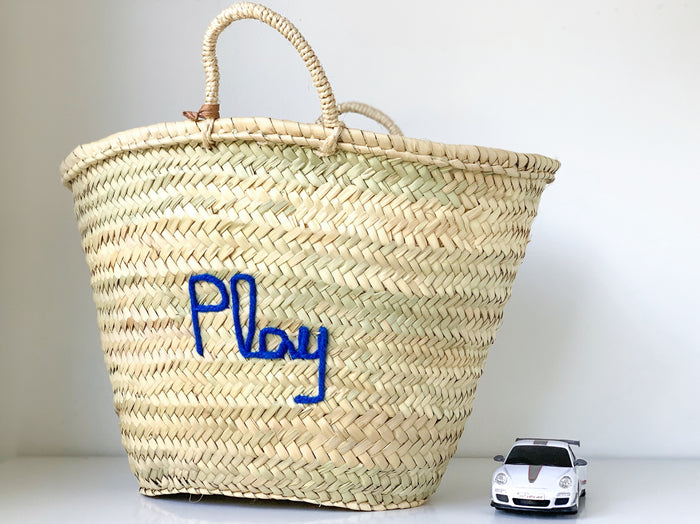 'Play' Basket (Medium) - Royal Blue Embroidery - Pretty Snippets Kids Toys & Accessories