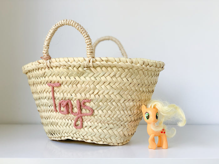 PREORDER 'Toys' Basket (Small) - Blush Embroidery - Pretty Snippets Kids Toys & Accessories