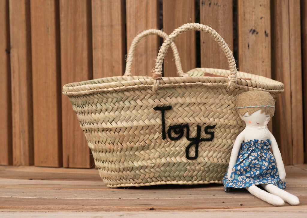 'Toys' Basket (Small) - Black Embroidery - Pretty Snippets Kids Toys & Accessories