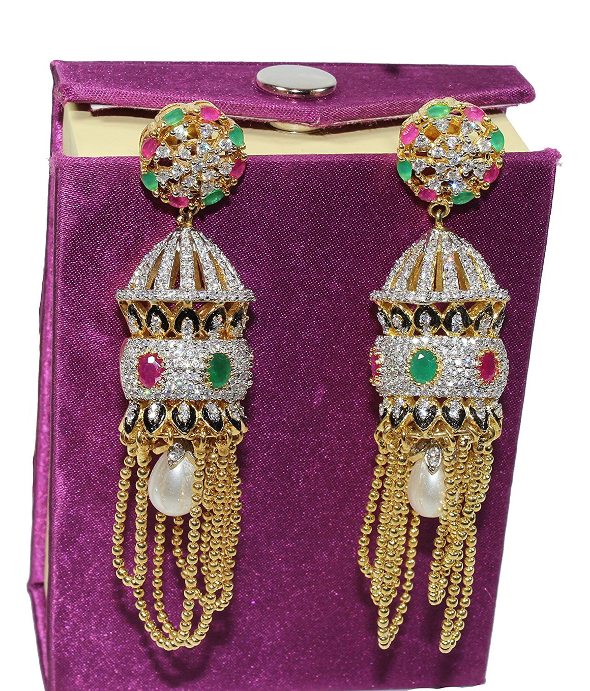 Alekip Cz Jhumka with 24 Karat Gold plated Chains dangling at the Base, Red & Emerald Semi precious Stones studded For women