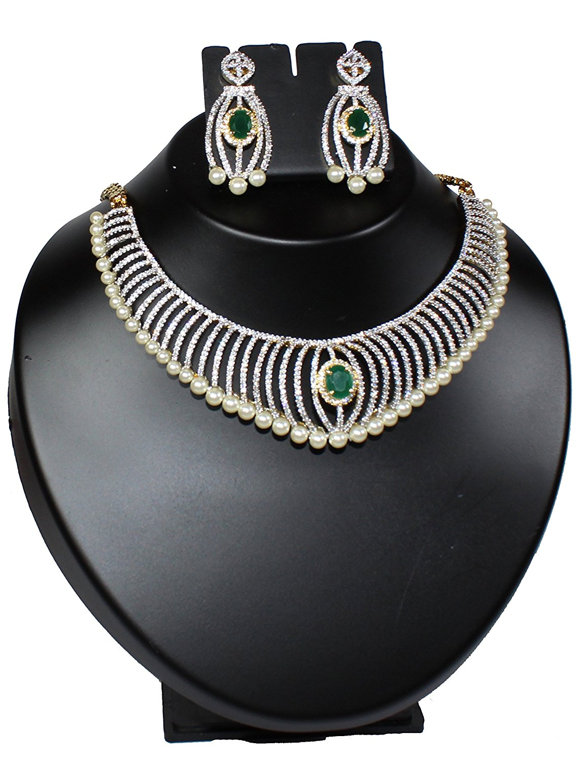 Alekip High Grade Rhodium Cz Necklace Set With Elegant Pearls & Semi Precious Emerald For Women