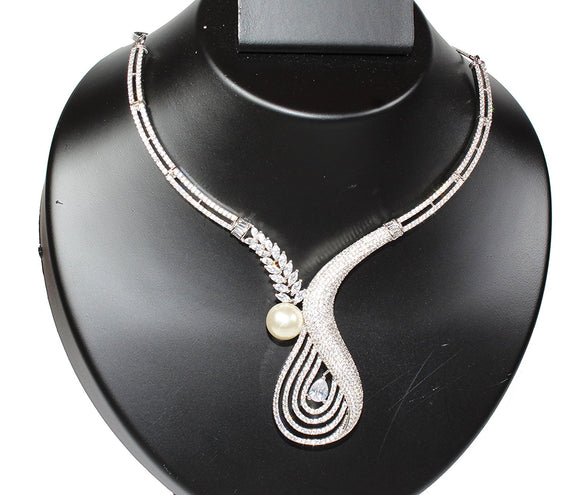 Alekip Cz Necklace Set In High Quality Rhodium With An Elegant Pearl For Women