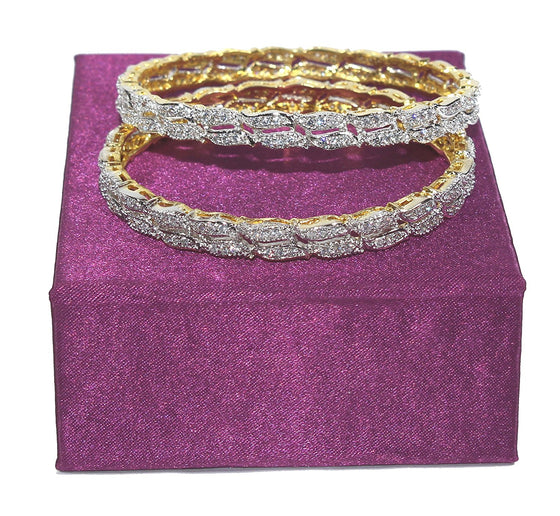 Alekip Traditional 24 Karat Gold Plated Cz Bangles for Women and Girls size 2.6
