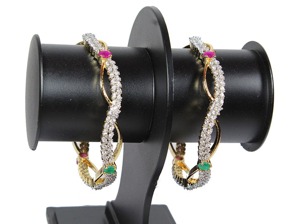 Alekip Traditional 24 Karat Gold Plated Cz Bangles With Ruby & Emerald Semi Precious Stones Studded for Women and Girls size 2.6