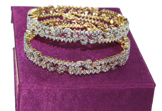 Alekip Traditional 24 Karat Gold Plated Cz Bangles for Women and Girls size 2.4