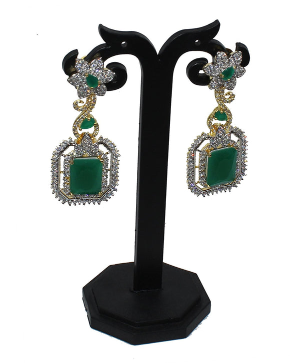 Alekip High Grade Rhodium Cz Designer Earrings In Sparkling White & Emerald Combination