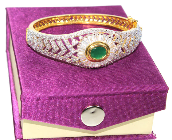 Alekip High Grade Cz Designer Bracelet with a Emerald Precious Stone For Women