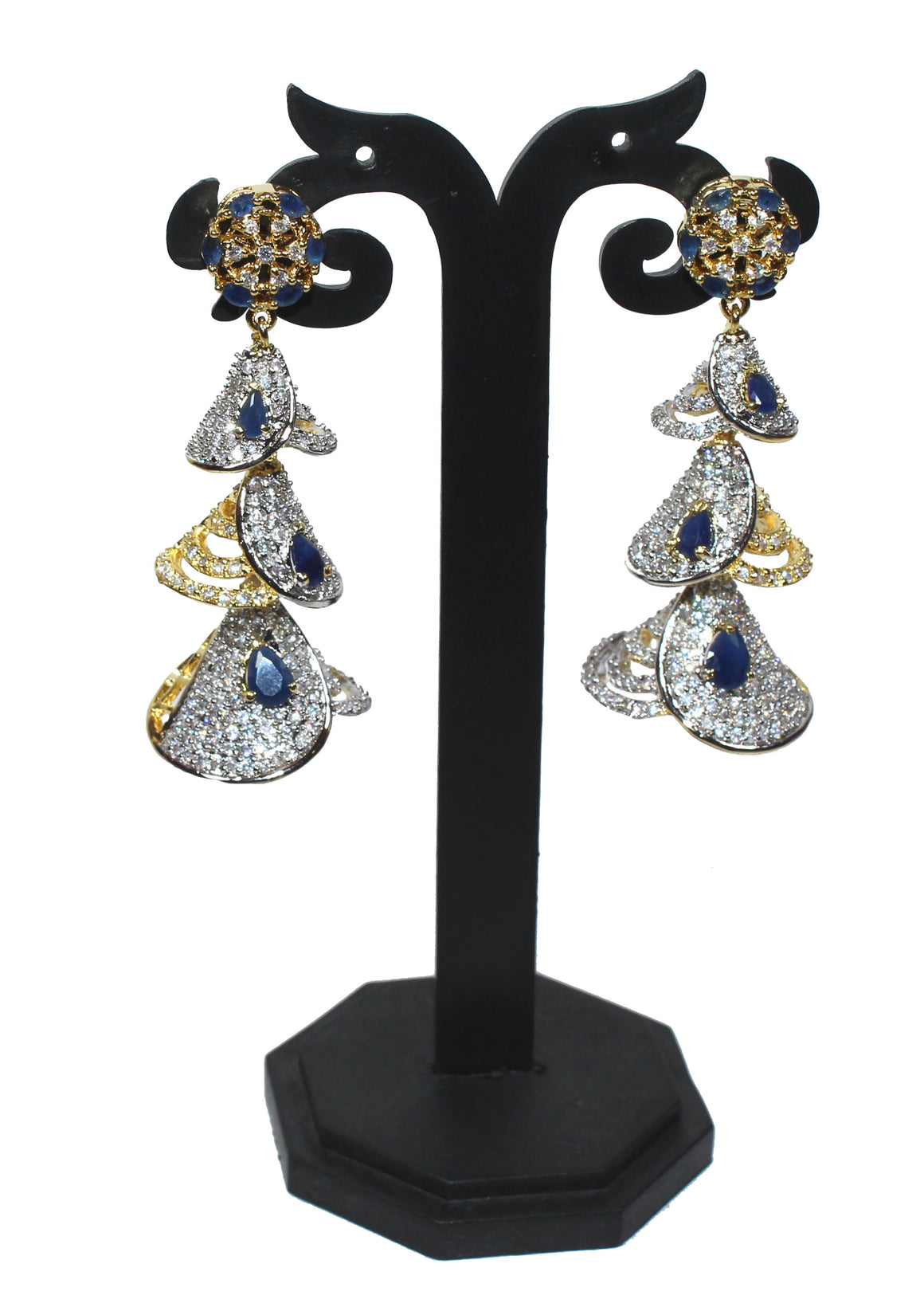 Alekip High Quality Cz Earrings with Navy Blue Semi precious Stones studded