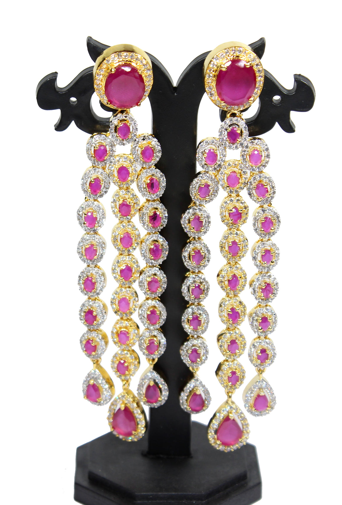 Alekip High Grade sparkling Cz Designer Earrings With Semi Precious Rubies For Woman