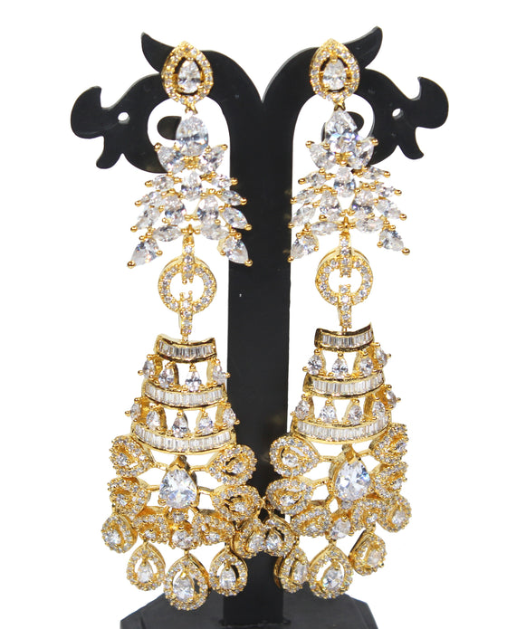 Alekip High Grade sparkling Cz Designer Earrings In 24 Karat Gold Plating For Woman