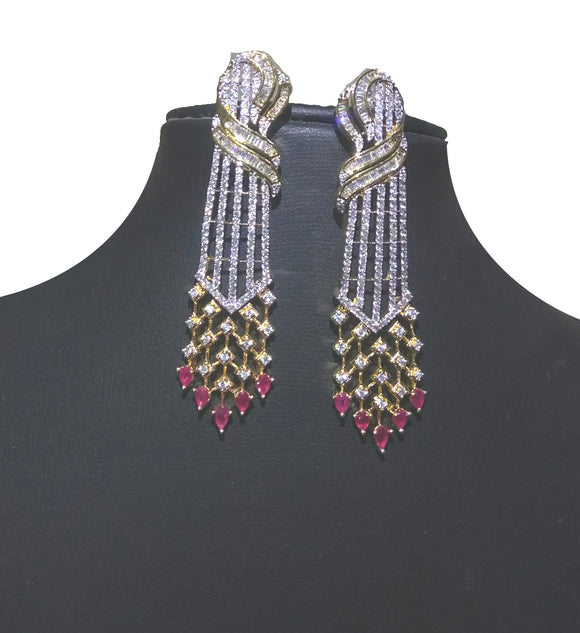 Alekip's Elegant American diamond earrings with antique work looks great with casual as well as party wear  For Women - Colour : Gold , Ruby