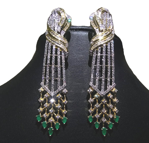Alekip's Alluring American diamond earrings having antique work looks great with casual as well as party wear looks For Women - Colour : Gold, Green