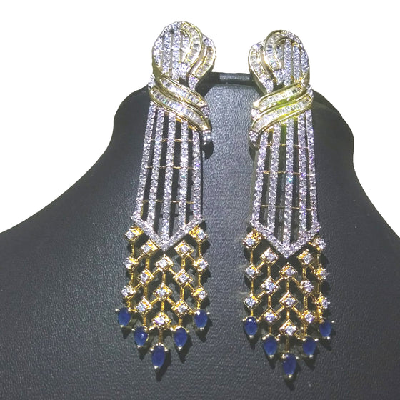 Alekip's Alluring American diamond earrings having antique work looks great with casual as well as party wear looks For Women - Colour : Gold, Blue