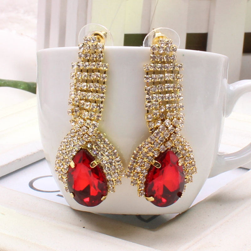 Women Luxury Elegant Rhinestone Big Drop Earrings Vintage Earings RD