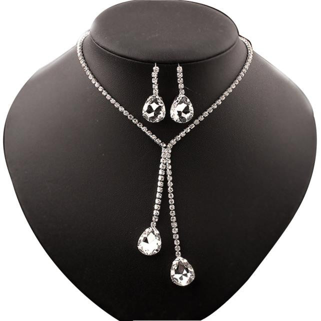 Women Rhinestone Crystal  Bib Statement  Necklace Chain Pendants