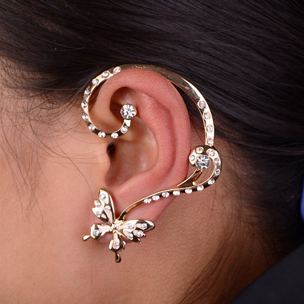 Women Fashion Crystal Butterfly Cuff Ear Clip Wrap Earring Gift