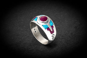 925 southwest style ring with Turquoise & Sugilite Size ~ 5 to 13
