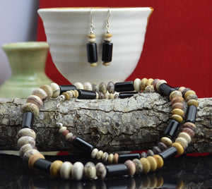 Navajo handmade picture jasper and black onyx necklace and earrings set