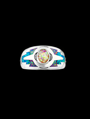 Southwest Ring, Sterling Silver Ring, Opal Ring, Pink Purple Blue