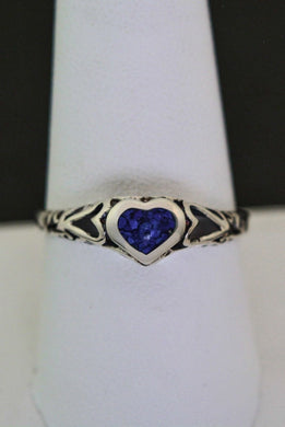 Beautiful Sterling Silver Tribal Heart Ring inlaid with Lapis Lazuli in a size 9
