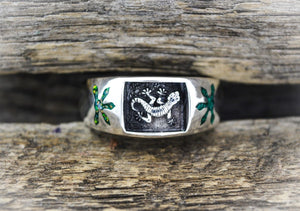 Gecko Ring, 925 Sterling Silver Ring, Lizard Ring, Opal Ring, Malachite Ring