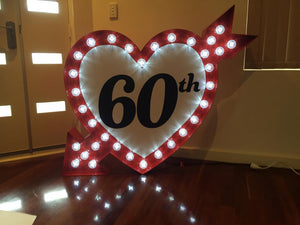 Light up Heart with Arrow - 3.5ft