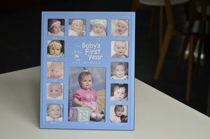 Baby's First Year Photo Frame (Chinese)/Blue/White Box/婴儿相框中文/蓝色/白盒