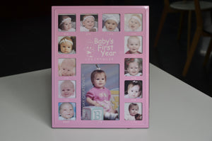 Baby's First Year Photo Frame /Pink/White Box/婴儿相框中文/粉色/白盒