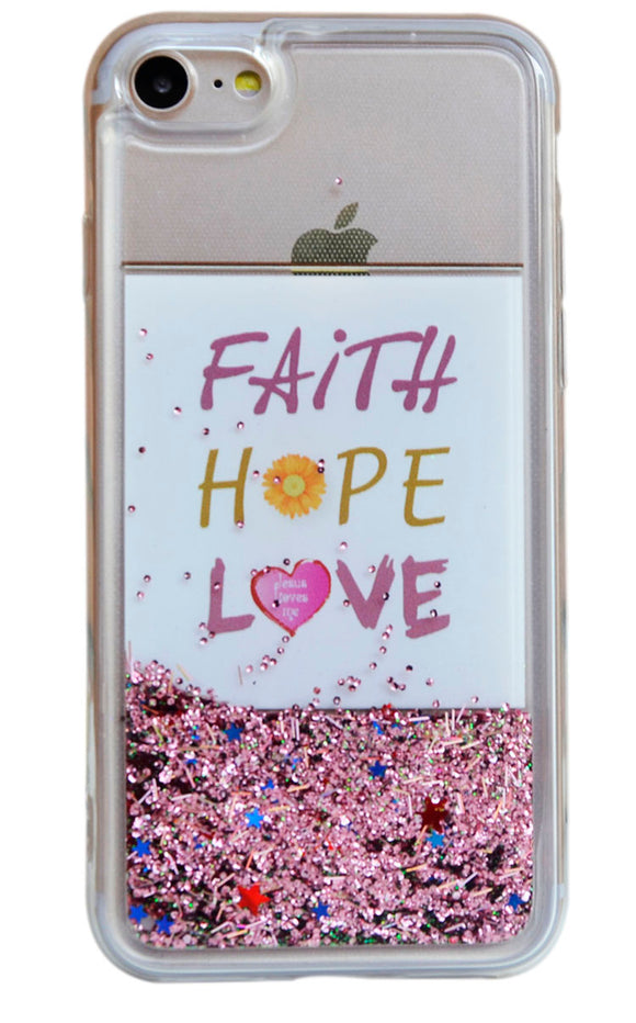 Faith, Hope, Love (English) - iPhone 7 - Liquid Quicksand Phone/信望爱英文-iphone7-液体流沙PC手机壳