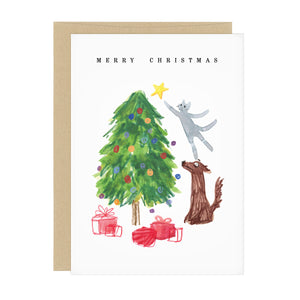 Christmas Tree Cat Holiday Card