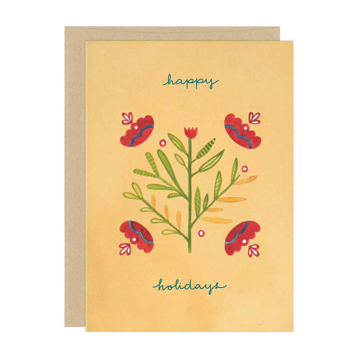 "Red and green decorative, geometric flower pattern centered on an orange background. Handwritten text reads, ""happy holidays"""
