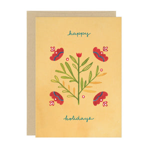 Decorative Floral Happy Holidays Card