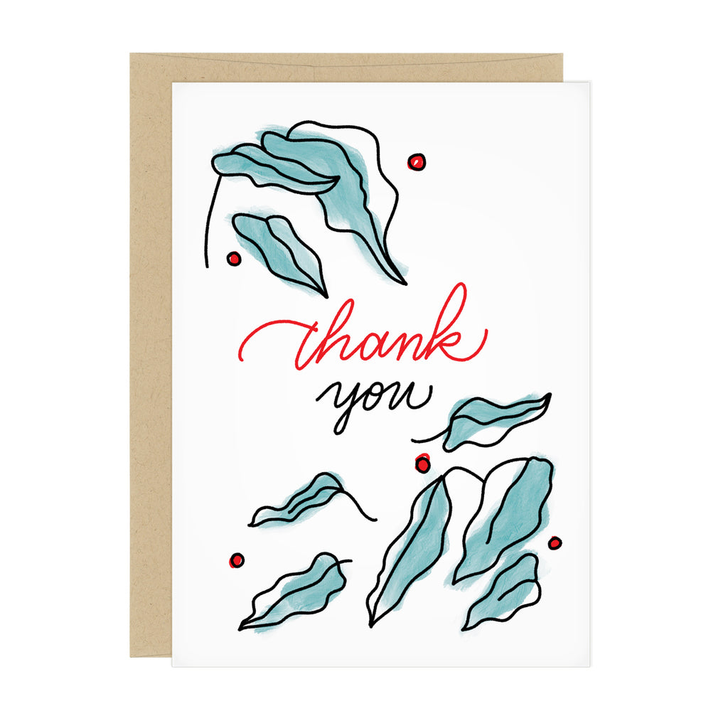 "Thank You card featuring a leaf design in black linework with green watercolor, and small read berries. Text reads, ""Thank you"""