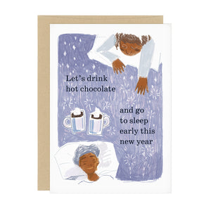 "A purple greeting card with soft white stars in the background. In the bottom left and top right corners, you see two women who have fallen asleep. There are two mugs of hot chocolate next to them. Text read ""Let's drink hot chocolate and go to sleep early this new year"""