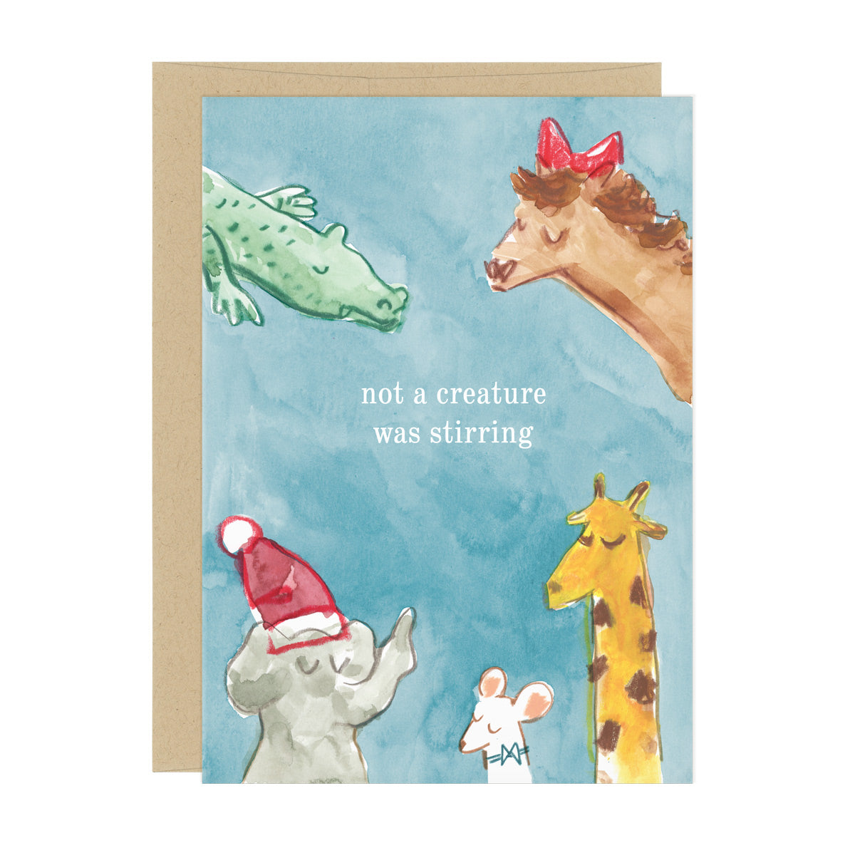 "A Christmas card on which five animals, an alligator, horse, elephant, mouse, and giraffe, wearing Christmas hats and bows, are all asleep. In the center, text reads ""not a creature was stirring"""
