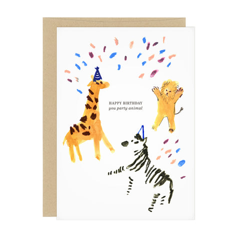 A birthday card featuring three animals (a giraffe, lion, and zebra) wearing party hats and throwing confetti. Card text reads: Happy birthday you party animal.