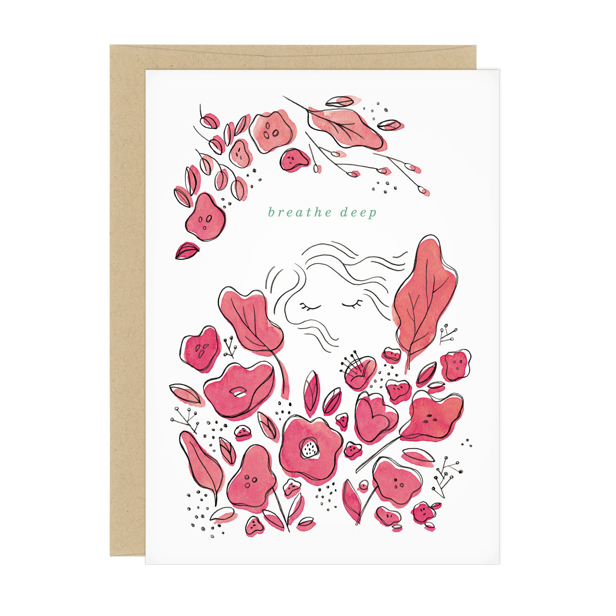 "Illustrations of decorative pink flowers surround a line drawing of a face of a woman with her eye closed. Text reads ""breathe deep"""
