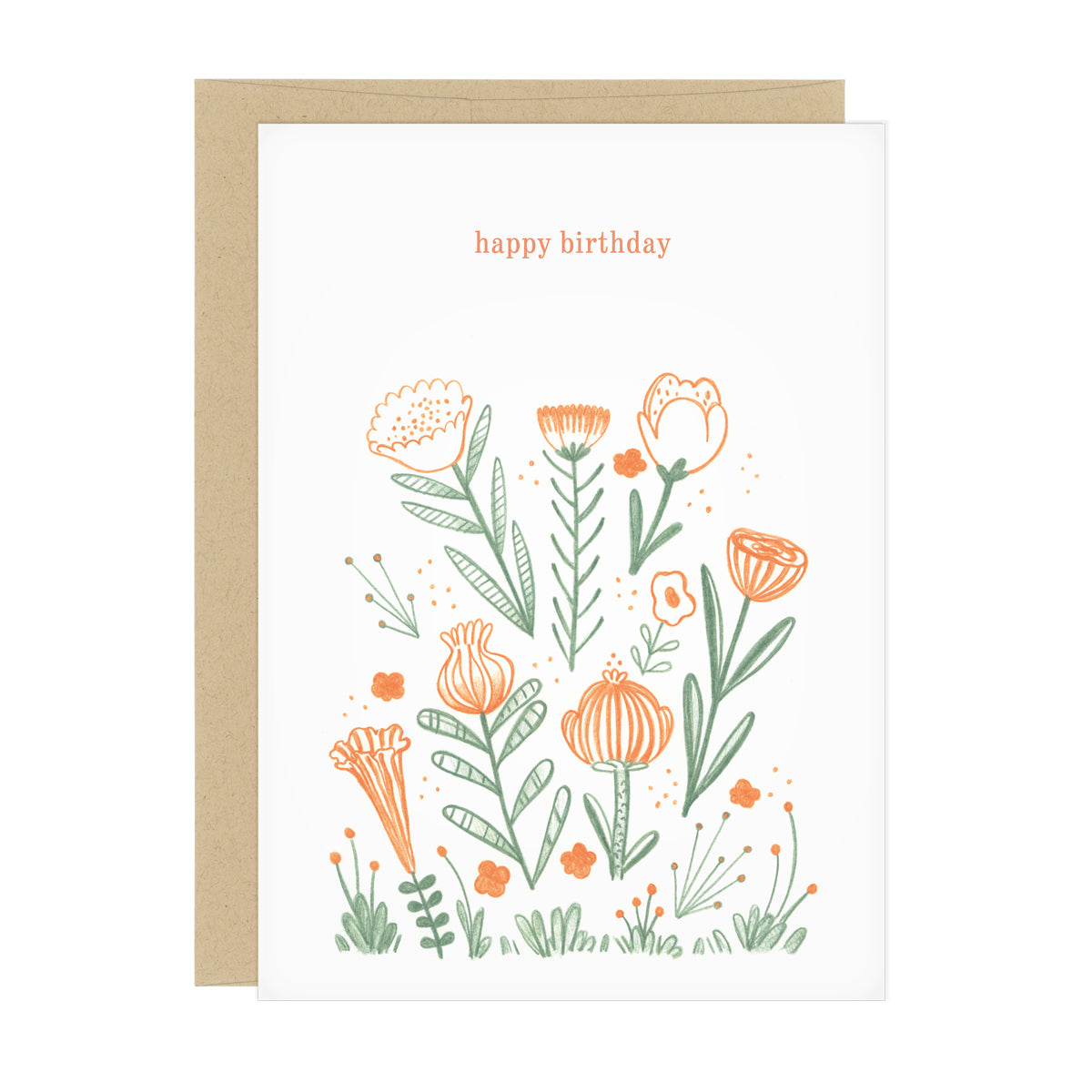 "A birthday card with large orange flowers. Text reads: ""happy birthday"""