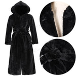 Womens Fur Parka Black Winter Coat Warm Thick Long Jackets - Toplen