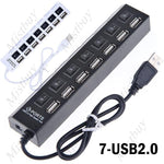 USB 2.0 7-Port Hub Adapter for Desktop Laptop PC Notebook Computer - Toplen