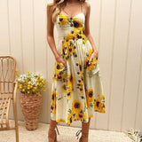 Womens Floral Button Pocket Summer Dress - Toplen