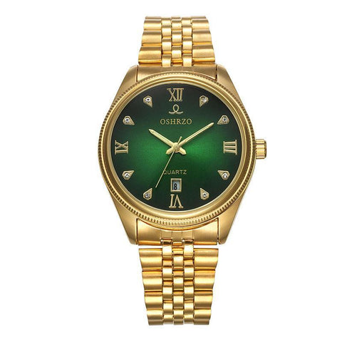 Men's Gold Stainless Steel Strap Calendar Quartz Waterproof Watch - Toplen