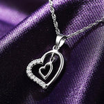 925 Sterling Silver Pendant Double Love Heart Imitated Crystal Necklace Pendant - Toplen