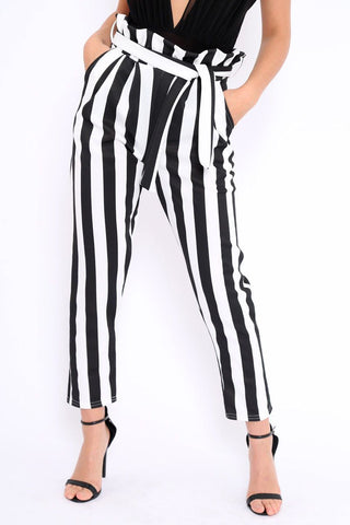 High Waist Striped Slim Trousers - Toplen