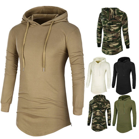 Men's Casual Long Sleeve Hooded Shirts Slim Fit Top - Wishmid
