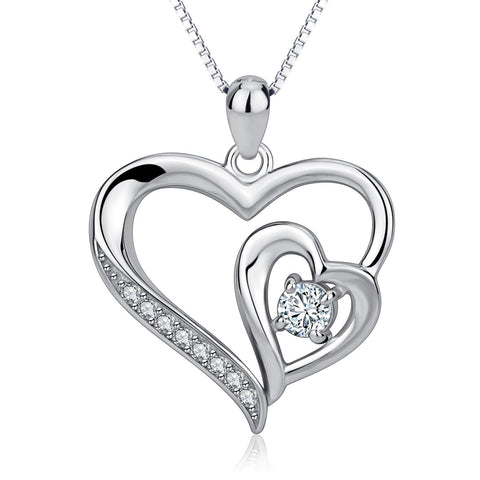 925 Sterling Silver Pendant Double Love Heart Crystal Necklace - Toplen