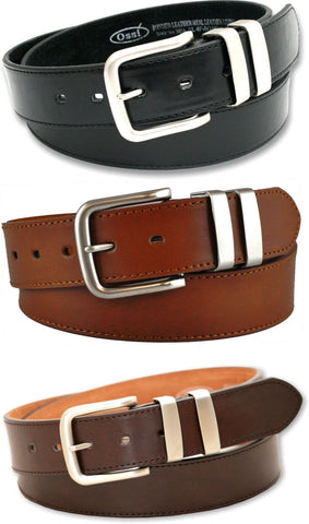 Mens Ossi Black Brown Tan Leather Lined 38mm Jeans Belt with Gift Box Option - Toplen
